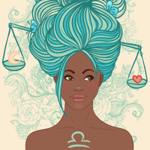 Zodiac beautiful girls set (African American version). Libra.
