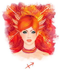 Sagittarius astrological sign as a beautiful girl. Watercolor illustration.