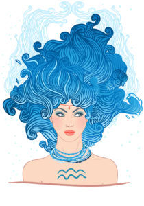 Illustration of Aquarius astrological sign as a beautiful girl. Vector art.