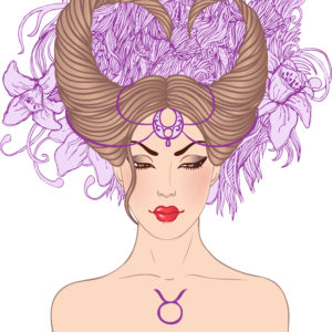 Illustration of taurus astrological sign as a beautiful girl. Vector.