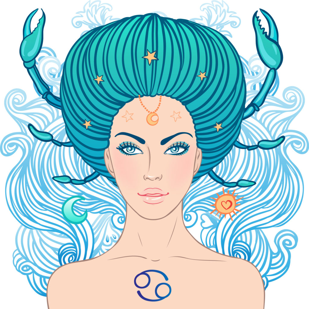 Illustration of cancer zodiac sign as a beautiful girl.