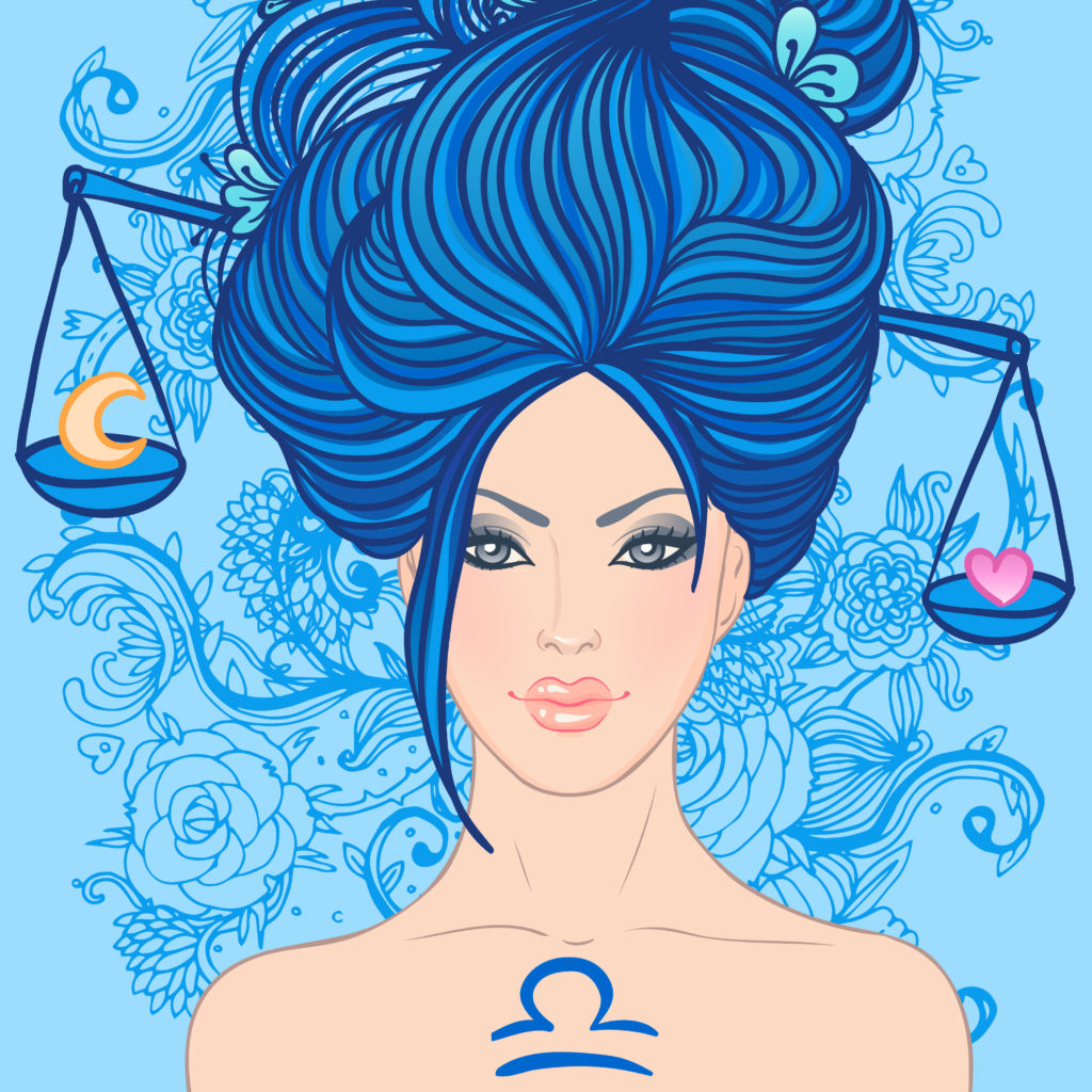 Illustration of libra zodiac sign as a beautiful girl