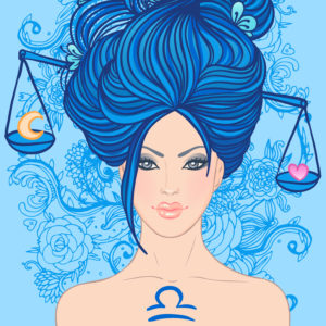 Illustration of libra zodiac sign as a beautiful girl. Vector illustration.. Isolated on white. . Isolated on white.