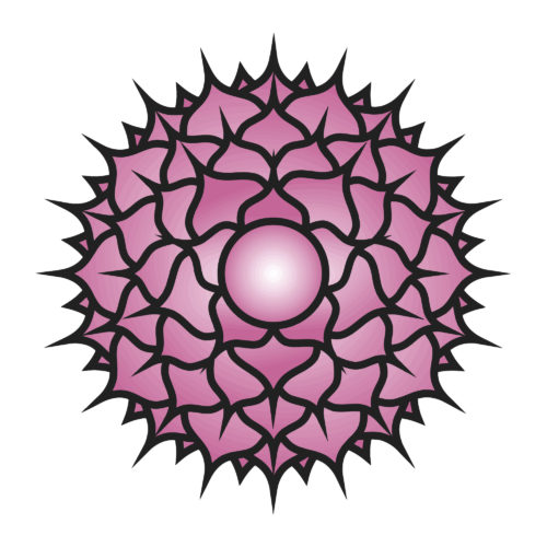 Seven major chakras. Sahasrara symbol. Crown chakra is generally considered to be the state of pure consciousness, within which there is neither object nor subject. Vector Format.