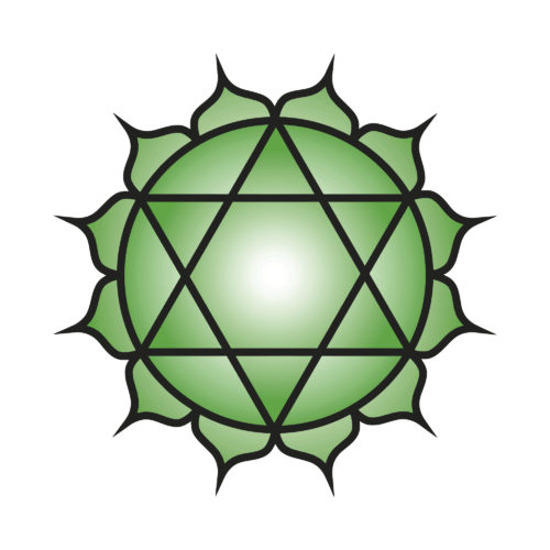 Seven major chakras. Anahata symbol. Heart chakra is symbolised by a circular flower with twelve green petals called the heartmind. Within it is a yantra of two intersecting triangles, forming a hexagram, symbolising a union of the male and female. Vector Format.