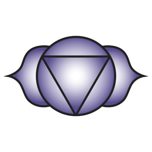 Seven major chakras. Ajna symbol. Third-eye chakra is symbolised by a lotus with two petals, and corresponds to the colours violet, indigo or deep blue. Vector Format.