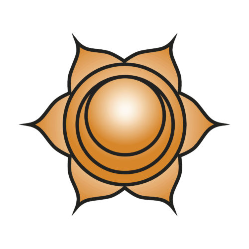 Seven major chakras. Svadhishthana symbol. Sacral chakra is symbolised by a white lotus within which is a crescent moon, with six vermilion, or orange petals. Vector Format.