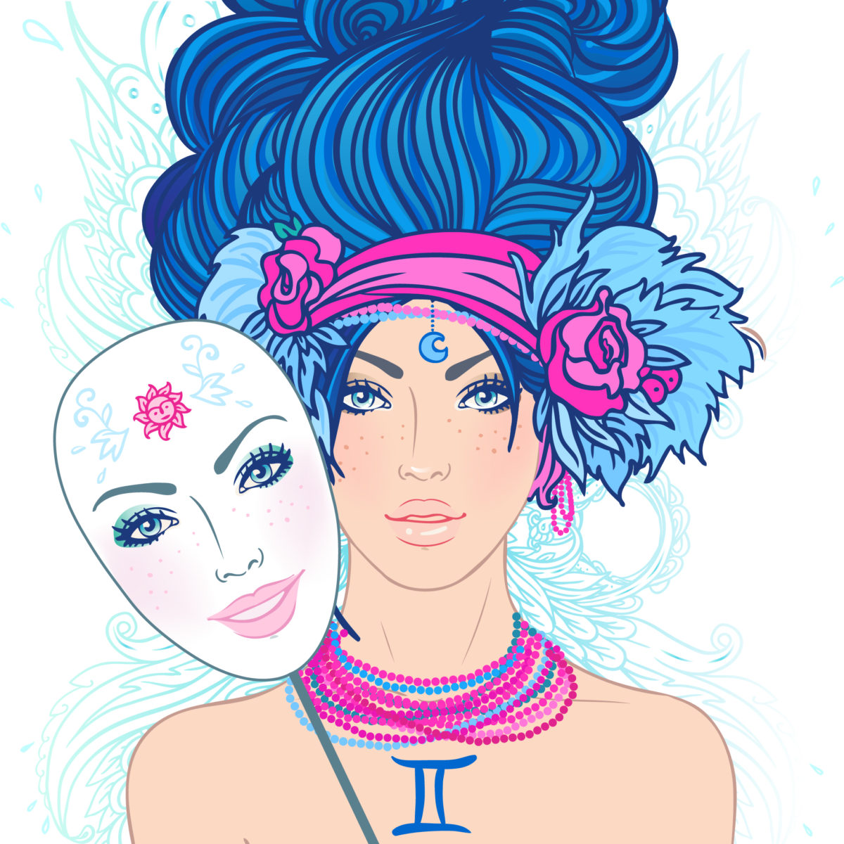Illustration of gemini zodiac sign as a beautiful girl.